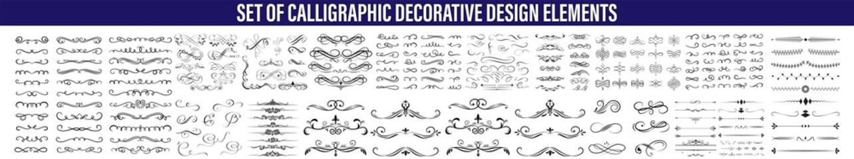 Fototapeta Calligraphic design elements . Decorative swirls or scrolls, vintage frames , flourishes, labels and dividers. Retro vector illustration, Calligraphic Design Elements,Design Elements Dividers And Dash obraz