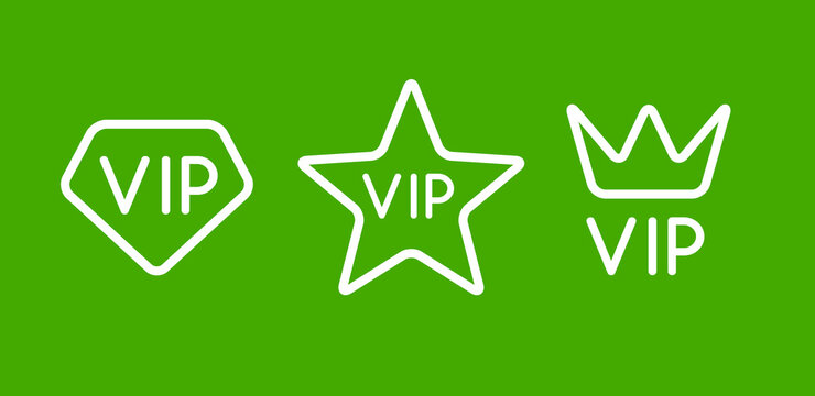 Vip line icon flat exclusive important membership badge crown. Vip icon member club