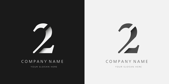 2 logo modern broken design serif number