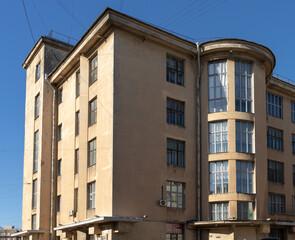 Fototapeta Detail of Gorky Palace of Culture, designed by architects A.I. Gegello and D.L. Krichevsky, 1925-1927, constructivist style, Stachek pr, St Petersburg, Russia obraz