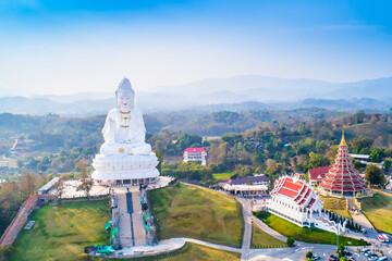 Fototapeta Wat Hyua Pla Kang Temple in Chiang Rai Thailand Drone Aerial shot with Copy Space obraz
