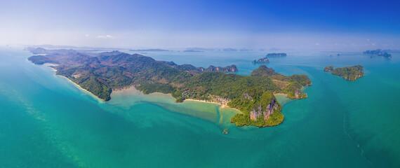 Fototapeta Koh Yao Noi, Phuket, Thailand Panoramic View aerial drone uav tropical paradise ko yao noi thai island obraz