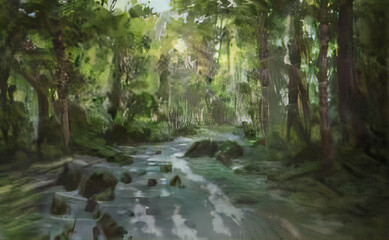 Fototapeta water flowing into the forest obraz