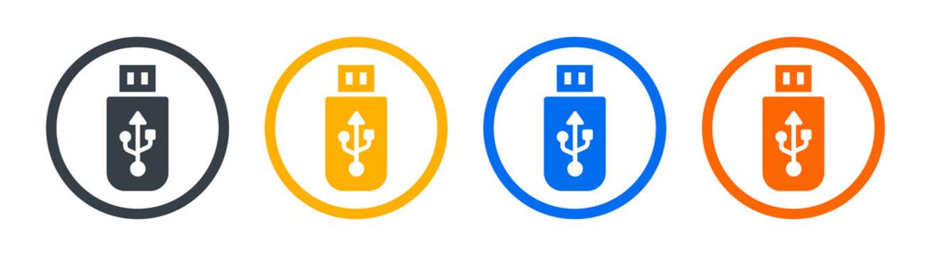 Usb memory stick icons set. Data storage symbol vector illustration