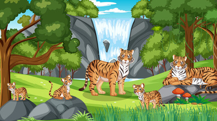 Tiger family in the forest scene with many trees