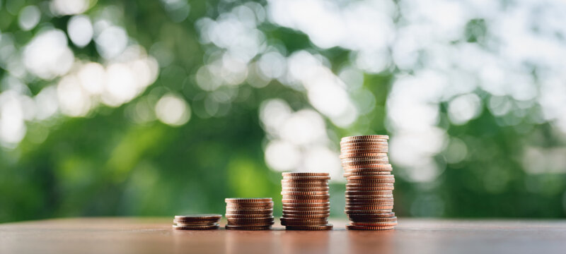 Coins put in order on a wooden table virtual, the growth of the concept and business strategy with natural green background.