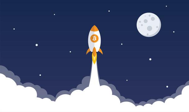 Bitcoin rocket flies to the moon
