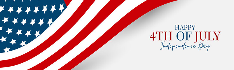 Obraz 4th of July Independence Day celebration banner or header. USA national holiday design concept with a flag. Vector illustration. - fototapety do salonu