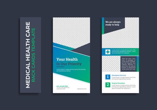 Medical healthcare dl flyer rack card template design Premium Vector