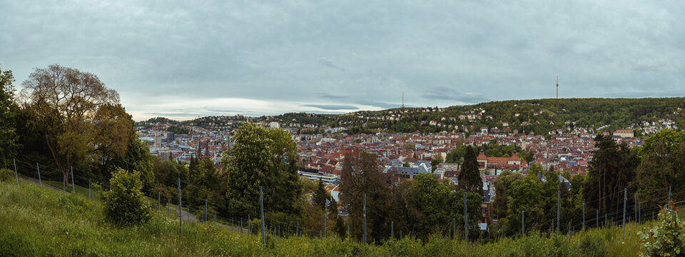Panorama-Ansicht von Stuttgart mit Fernsehturm, Baden-Württemberg