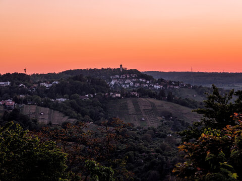 Sonnenuntergang am Engelbergturm, Leonberg, Baden-Württemberg