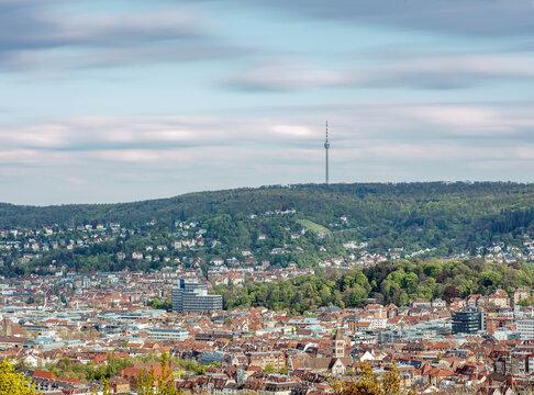 Der Stuttgarter Fernsehturm am Abend, Stuttgart, Baden-Württemberg