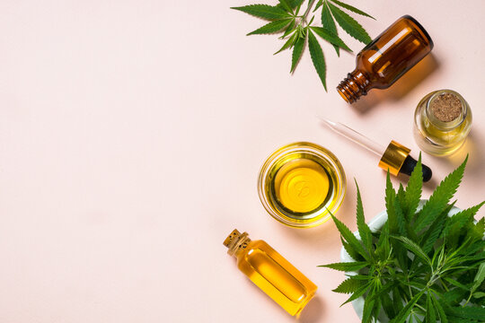 Cannabis oil hemp oil in glass bowl and cosmetic bottles with dropper and fresh leaves at pastel background. Flat lay image with copy space.