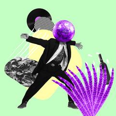 Contemporary art collage. Inspiration, idea, trendy urban magazine style. Man headed of disco ball...