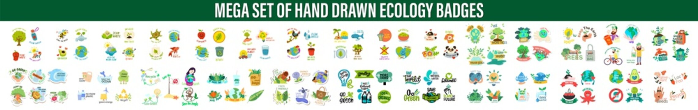 Set of vector handwritten ecology badges elements.  Vegan, fresh, bio, raw, eco, organic and healthy logos and icons. Bio, Ecology, Organic logos and icons, labels, tags. Hand drawn bio healthy food