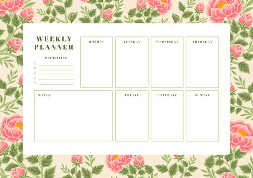 Printable vintage floral weekly planner vector template with rose, peony flowers and botanical leaf illustration elements for school scheduler, seasonal events, reminder, bullet journal