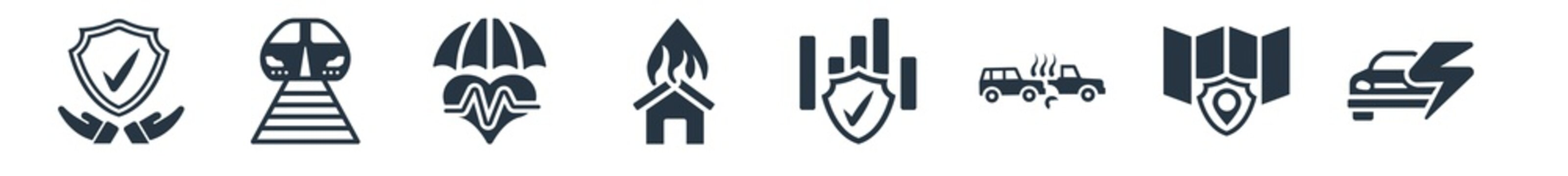insurance filled icons. glyph vector icons such as problem electric, coverage area, rear end collision, actual cash value, disaster, life insurance, transport sign isolated on white background.