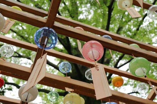 Enmusubi Furin with colorful glass wind chime at Kawagoe Hikawa Shrine in Kawagoe, Japan.
