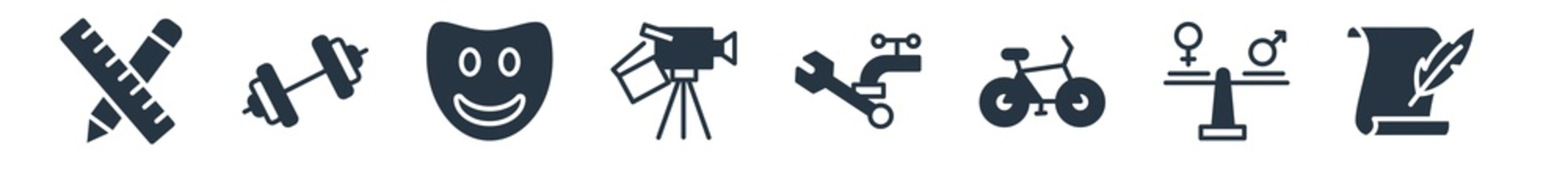 people skills filled icons. glyph vector icons such as writer, equality, cyclist, plumber, filmmaker, emotions, body building sign isolated on white background.