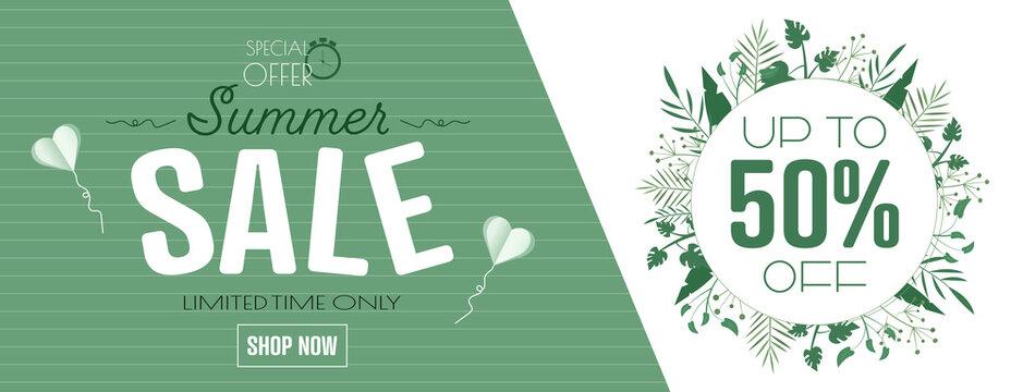 Summer sale banner. Modern minimal design for Sales. Flat vector illustration.