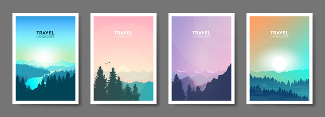 Abstract landscape set, Minimalist style, Flat design, Travel concept of discovering, exploring, observing nature. Hiking. Adventure tourism. Banners set with polygonal landscape illustrations.