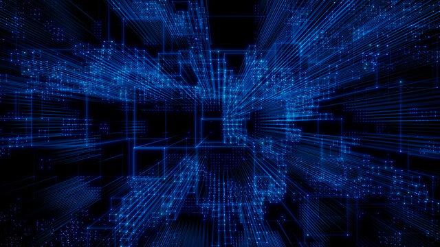 Artificial Intelligence, Quantum Computing Concept. Blue Tech Background. 3D Render.