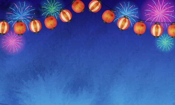 夏の夜空と花火と提灯の水彩風ベクターイラスト風景(背景)