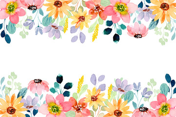 Obraz Colorful wild flower background with watercolor - fototapety do salonu