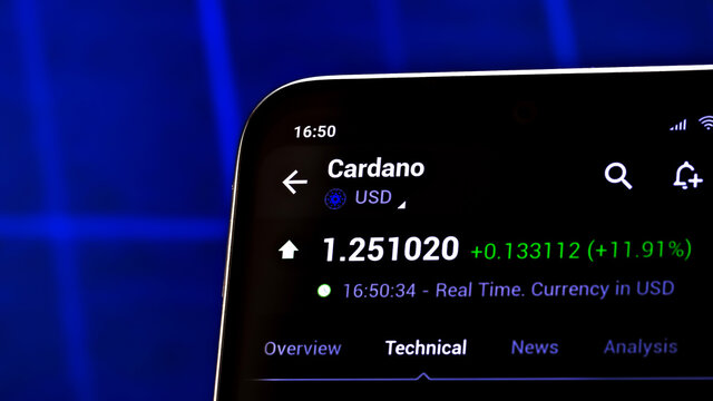 Editorial photo on Cardano (ADA) theme.  Illustrative photo for news about Cardano (ADA) - a cryptocurrency