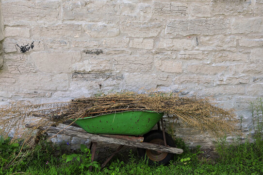 old green wheelbarrow with weeds beside a stone wall