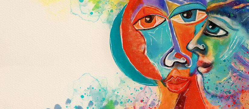 Human diversity concept. Watercolor design background