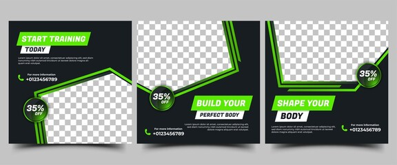 Obraz Gym, Fitness, Workout Social media post templates design collection. Modern square banner with abstract green shape and place for the photo. Usable for social media, banners, and websites. - fototapety do salonu