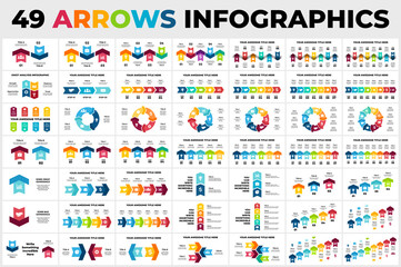 Obraz 49 Arrows Vector Infographics Bundle. Presentation slide templates. Circle chart diagrams. Perfect for marketing or business project. - fototapety do salonu