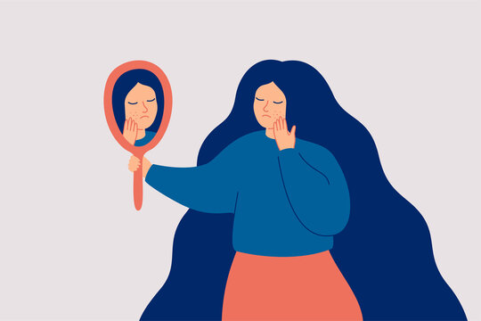 Sad woman has skin problems and she touching pimples on her face with worried. Anxious girl looking at the mirror on the acne. Skincare concept. Vector illustration