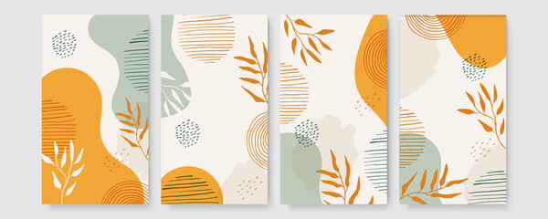 Obraz Tropical boho themed banners set. Creative compositions of colorful palm leaves and branches. Floral geometric design template for posters, covers, social media stories. Flat style vector illustration - fototapety do salonu