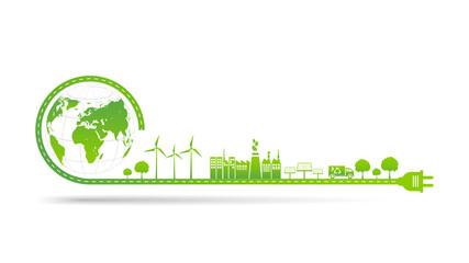 Fototapeta Sustainable development, World Environmental and Ecology friendly concept, Vector illustration obraz