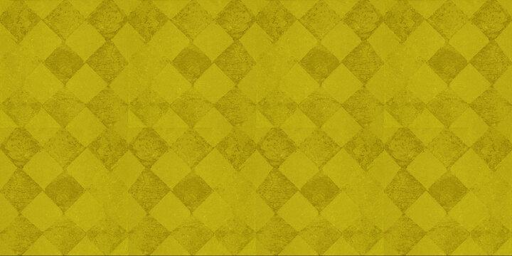 Old yellow vintage worn shabby elegant damask rue diamond rhombus square patchwork motif tiles stone concrete cement wall wallpaper texture background