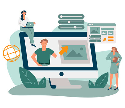 Marketing team working on personal brand, creating corporate identity, advertising profile or web site of female professional. Flat vector illustration for web presence, online identity concept