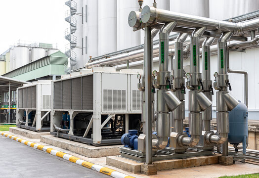 Pipeline system to deliver cold water into the production process.
