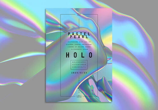 Modern Iridescent Holographic Creative Poster Layout with Abstract Shapes Background