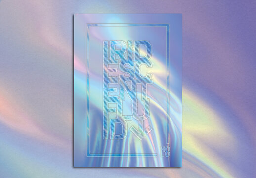 Trendy Pastel Holographic Foil Background Poster Layout