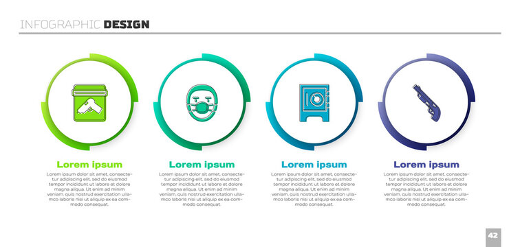 Set Evidence bag with gun, Doctor pathologist, Safe and Police shotgun. Business infographic template. Vector