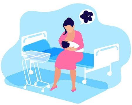 A woman with a newborn baby in her arms alone in a hospital ward staying with a baby. The first days are the postpartum period. Many anxiety issues, support breastfeeding and maternal mental health.
