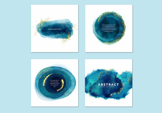 Abstract Blue Hand Painted Art for Social Media