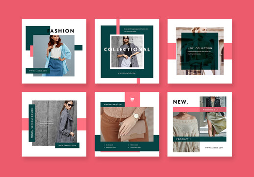 Square Social Layouts with Red and Green Accent