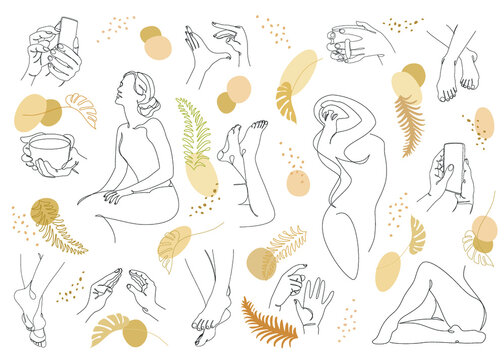 Group. Silhouettes of a figure of a girl and a leaf of a plant in a modern one line style. Continuous line drawing, aesthetic outline for home decor, posters, stickers, logo. Vector illustration set.