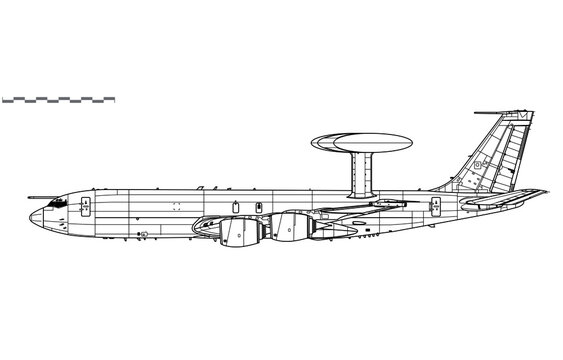 Sentry AEW1. Boeing E-3D. Vector drawing of airborne early warning and control aircraft. Side view. Image for illustration and infographics.