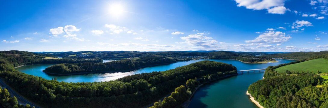 the bigge lake in the sauerland in germany in summer panorama