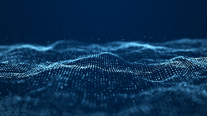 Obraz Abstract wave with moving dots. Flow of particles. Cyber technology illustration. 3d rendering - fototapety do salonu