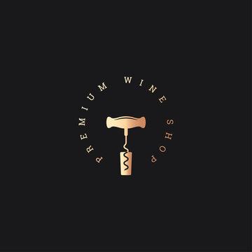 Wine shop logo. Wine cork corkscrew on black